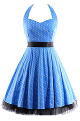 Blue Polka Dot Halter Swing Dress