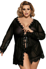 Atomic Black Eyelash Lace Robe