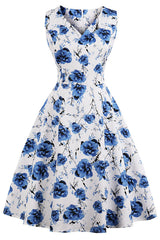 Blue Sleeveless Bloom Swing Dress