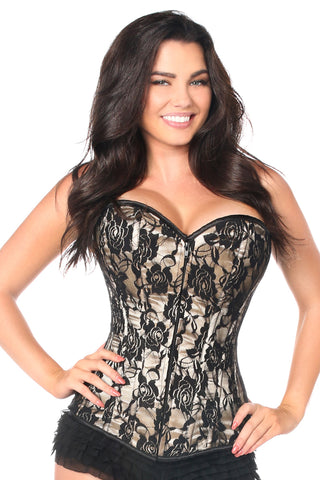 Tan Lace Front Zipper Corset