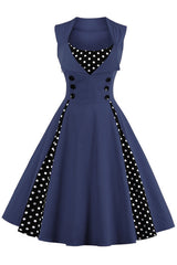Dark Blue and Black Polka Dot Pleated Swing Dress