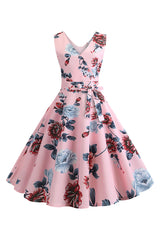 Vintage Pink Floral Belted Dress