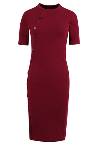 Red Side Buttoned Bodycon Dress