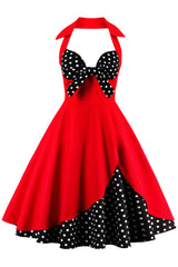 Red Halter Polka Dot Cocktail Dress