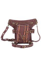 Brown Studded Leather Bag