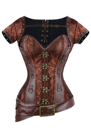 Brown Steampunk Faux Leather Belt Corset