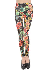 Dark Rose and Jewelry Print Leggings