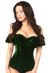 Top Drawer Dark Green Velvet Off-The-Shoulder Steel Boned Corset