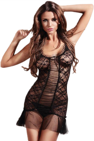Black Ruched Lace Chemise