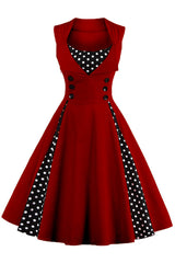 Wine Red and Black Polka Dot Pleated Swing Dress