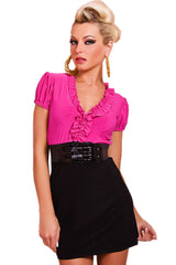 Ruffled Pink and Black Mini Dress