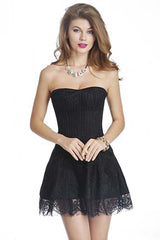 Black Strapless Stripe Lace Corset Dress
