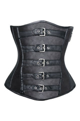Black Buckled Steampunk Under Bust Corset