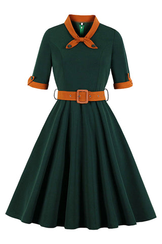 Dark Green Vintage Tie Collar Dress