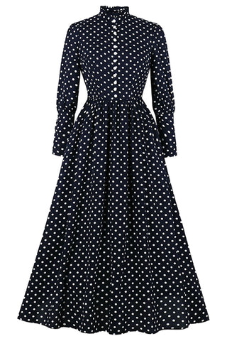 Dark Blue Polka Dot Maxi Dress
