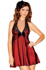 Red Satin and Lace Halter Babydoll