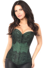 Green w/ Black Eyelash Lace Overbust Corset