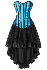 Victorian Inspired Betty Blue Corset and Skirt Set