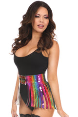 Rainbow Glitter Black Fringe Mini Skirt