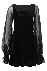 Velvet Black Crisscross Gothic Dress
