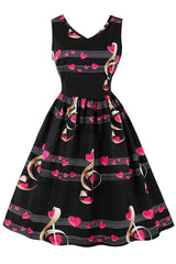 Black Musical Hearts Swing Dress
