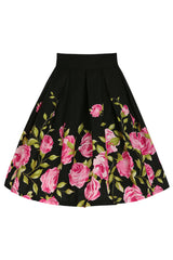 Black Floral Rockabilly Skirt