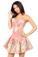 Top Drawer Premium Coral Floral Steel Boned Short Corset Dress