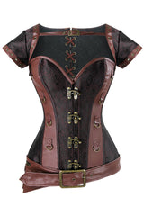 Atomic Brown Steampunk Steel Boned Brocade Corset