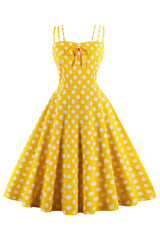 Yellow Polka Dot Summer Swing Dress
