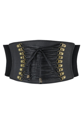 Leather Lace Up Cinched Corset Belt