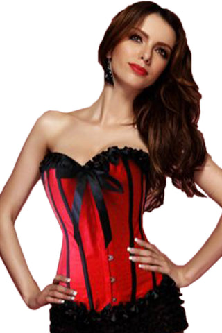 Red Strapless Burlesque Corset