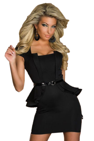 Black Peplum Dress with Cap Sleeves