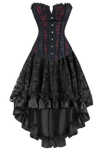 Victorian Inspired Red and Black Overbust Corset and Skirt