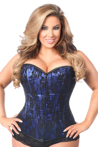 Blue Lace Front Zipper Corset