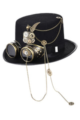 Steampunk Metal Gear and Goggles Top Hat
