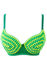 Shades of Green Spiked Bra Top