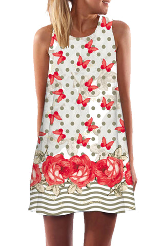 Patchwork Butterfly Garden Mini Summer Dress