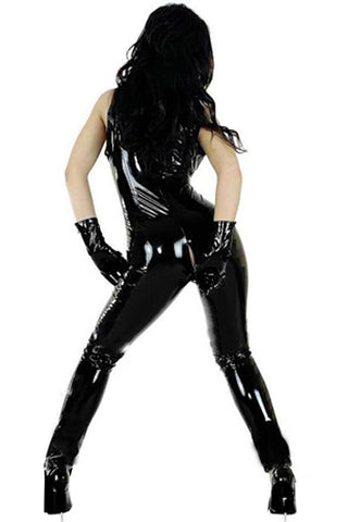 Black Wet Look Catsuit Costume