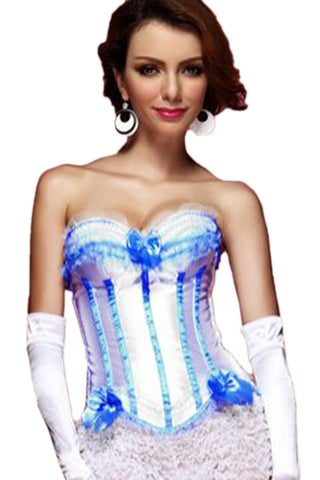 White and Blue Satin Strapless Overbust Corset