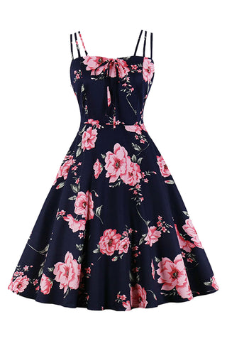 Atomic Blue Blooming Floral Swing Dress