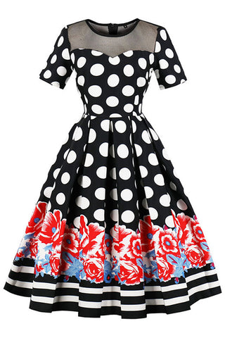 Floral Polka Dot Pleated Swing Dress