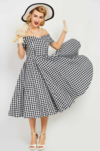 Atomic Off-Shoulder Plaid Swing Dress
