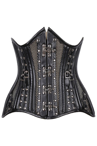 Fishnet & Faux Leather Belted Underbust Corset