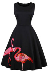 Vintage Flamingo Swing Dress