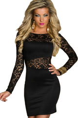 Black Floral Laced Clubwear Dress