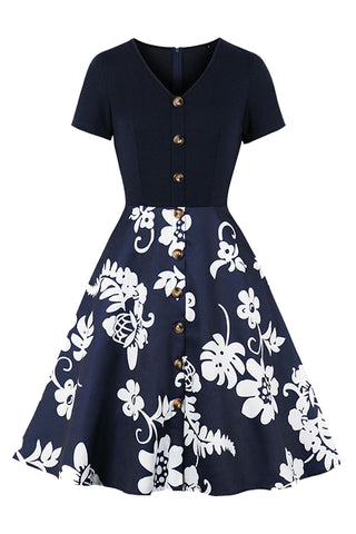 Dark Blue Spliced Tropical Midi Dress