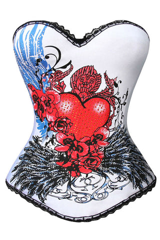 I Love You Heart Print Overbust Corset