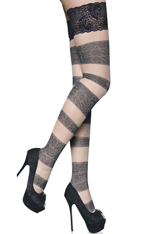 Atomic Floral Bandage Thigh High Stockings