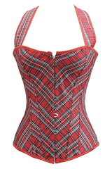 Red Plaid Halter Overbust Corset