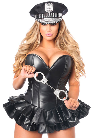 Faux Leather Cop Costume